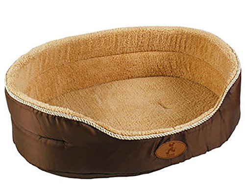 MaruPet Removable Round Bite Resistance Pet Bed with Printing Dots for All Seasons, Summer or Winter Cotton-Padded Rim Cushion, Nonslip Bottom, Machine Washable less than 80lbs Dark Coffee 18