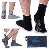 Ozaiic Men's Non Slip Anti Skid Socks Yoga Pilates Barre Fitness Hospital Socks with Grips, 3 Pack