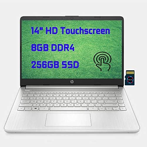 2021 HP Laptop 14 Premium Business Laptop Computer I 14″ Diagonal HD Touchscreen I AMD Ryzen 3 3250U I 8GB DDR4 256GB SSD I AMD Radeon Graphics USB-C HDMI Wifi6 I Win10 + Delca 32GB MicroSD Card