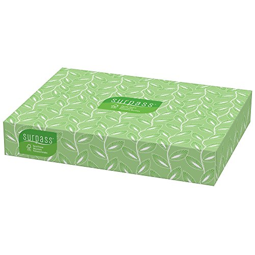 Surpass Facial Tissue Flat Box (21340), 2-Ply, White, Unscented, 100 Tissues / Box, 30 Boxes / Big - Big Facial