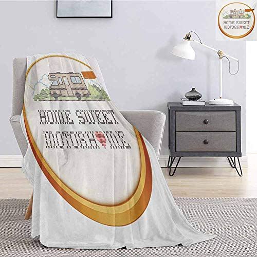 Luoiaax Home Sweet Home Bedding Microfiber Blanket Embroidery Hoop Cross Stitch Needlework Sewing Design Trailer Home Print Super Soft and Comfortable Luxury Bed Blanket W60 x L50 Inch Multicolor