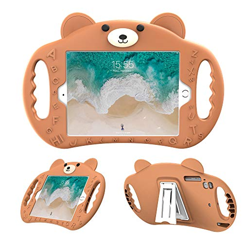 pzoz Case Compatible with iPad Mini Case for Kids Shockproof Silicone Handle Stand Cover Compatible Apple iPad Mini 7.9 1 2 3 4 A1432 A1454 A1455 A1489 A1490 A1491 A1599 A1600 A1538 A1550(Brown)