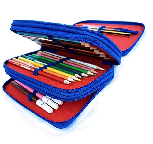51Kyyi72f2L Haz clic aquí para comprobar si este producto es compatible con tu modelo Capacidad: Estuce Spider-Man de almacenamiento de lápices de colores, tiene 44 grandes ranuras elásticas que pueden contener hasta 18 lápices de colores, 18 rotuladores , 2 bolígrafos , 1 lapiz, 1 goma, 1 sacapunta, 1 horario,1 regla , 1 tijeras. Material: la funda está hecha de tela Oxford de poliéster resistente. Duradera y no se pliega y proporciona una gran protección contra el polvo, el agua, los arañazos y los golpes, no solo se ve bien y se siente bien, sino que también es fácil de mantener y limpiar. Las cremalleras garantizan un servicio a largo plazo.