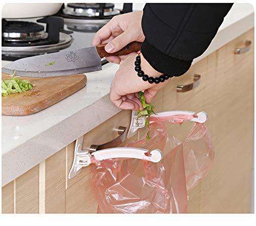 (MSOO 1Pair Kitchen Door Cabinet Hook Rack Trash Bags Storage Garbage Handbag Rack)