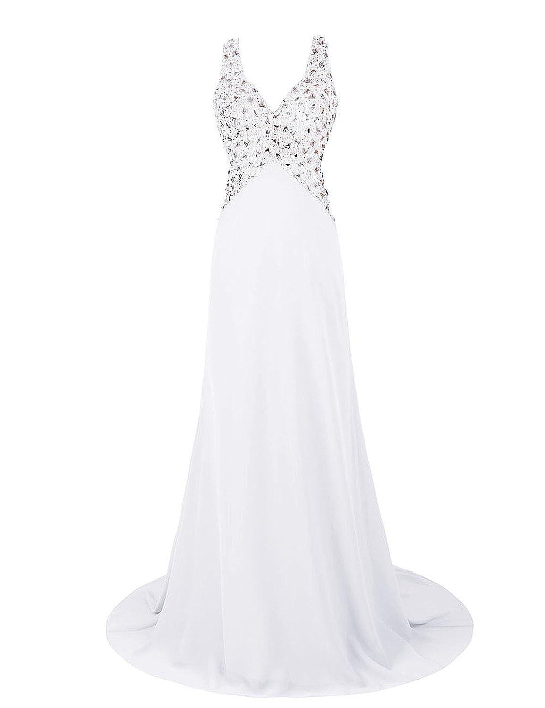 Promworld Women's Sleeveless V Neck Chiffon Long Evening Dress Party Dress