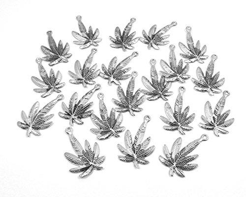 - Set of Twenty (20) Silver Tone Pewter Marijuana Leaf Pendants
