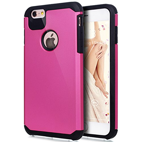"Price comparison product image iPhone 6S Plus Case,iPhone 6 Plus Case,ikasus Hybrid Heavy Duty Shockproof Full-body Dirtproof Soft Silicone & Hard PC Dual Layer Non-slip Grip Bumper Case Cover for iPhone 6S/6 Plus 5.5"" - Hot Pink"