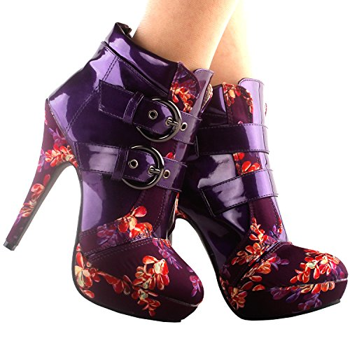 Punk Heel Sky Purple Story LF30301 Buckle Ankle Platform High Night Show Stiletto Boots 5AYIqnn