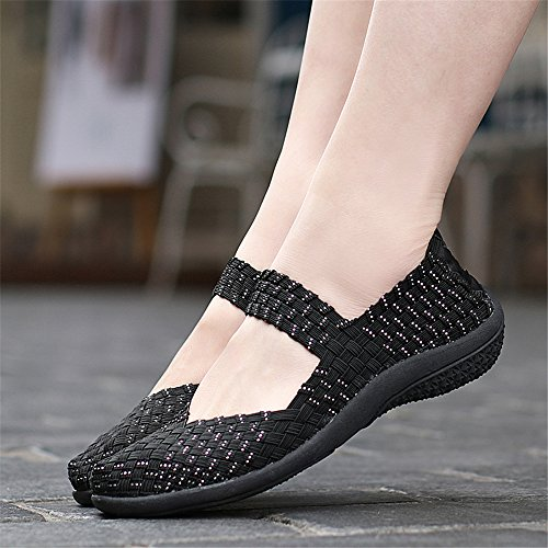 FZDX Women Woven Shoes Slip On Fashion Sneakers Lightweight Walking Shoes Handmade Comfort Silver 551 R2tE3BzR