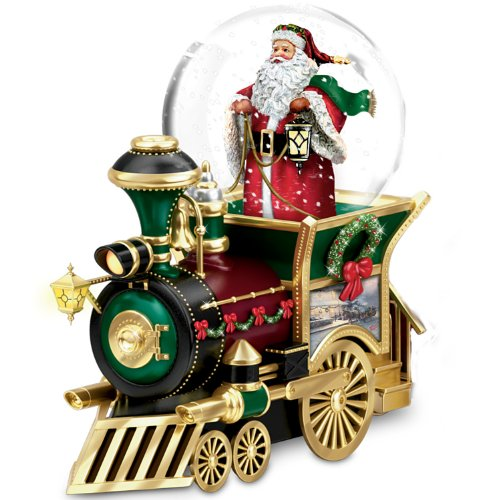 Thomas Kinkade Santa Claus Is Comin' To Town Musical Snowglobe Train Car by The Bradford Exchange - Thomas Kinkade Trains