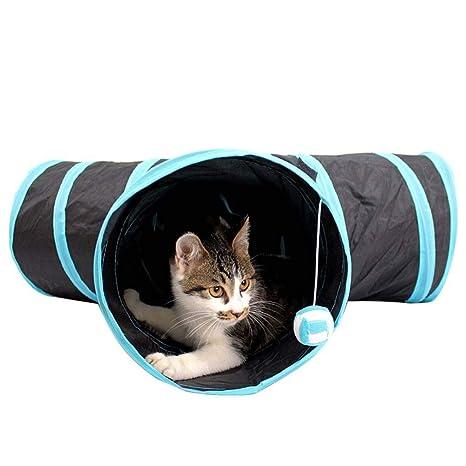 Kimmyer - Juego de túnel Plegable para Gato de 4 vías para Mascotas, Juguetes para