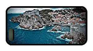Cool iphone 5 case unique cover Cloudy the harbor the sea coast houses villages rocky hill TPU Black for Apple iPhone 5/5S
