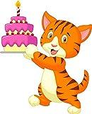 Wallmonkeys Cat Cartoon with Birthday Cake Wall