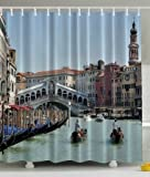European Cityscape Decor by Ambesonne, Venetian Gondola Seaside Grand Canal Bridge Romantic from Italy Antique Venice Fabric Bathroom Shower Curtain, 69x70 Inches, Blue Beige Turquoise Bronze