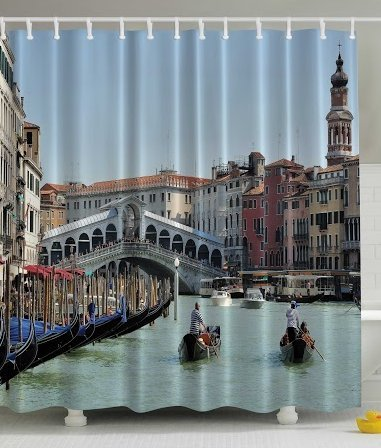 European Cityscape Decor by Ambesonne, Venetian Gondola Seaside Grand Canal Bridge Romantic from Italy Antique Venice Fabric Bathroom Shower Curtain, 69x70 Inches, Blue Beige Turquoise Bronze - Venice Bridge