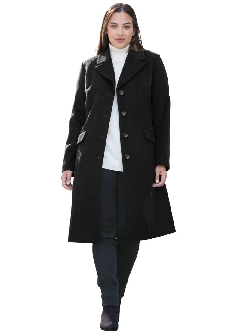 Jessica London Women's Plus Size Three-Quarter Wool-Blend Coat Black,24 by Jessica London