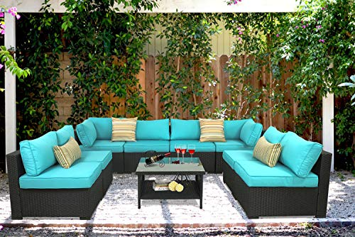 Outdoor Rattan Sectional Sofa - Patio PE Wicker Furniture Set (9-Piece,Turquoise) -