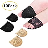 10 Pair Forefoot High Heeled Shoes Slip Resistant Half Yard Cotton Pads Insoles,sock,Forefoot Pain Relief Pad for Women,Ball of Foot Insoles (Beige)
