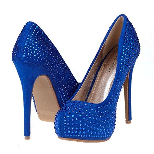 DREAM PAIRS Elsa Womens Closed Toe Stiletto Heel Platform Pumps Shoes Z-royalblue Glitter 4J7TPA6pD