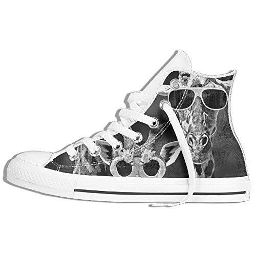 Classiche Sneakers Alte Scarpe Di Tela Anti-skid Occhiali Da Sole Giraffa Famiglia Casual Da Passeggio Per Uomo Donna Bianco