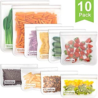 Reusable Storage Bags - 10 Pack Reusable Freezer Bags(2 Reusable Gallon Bags + 4 BPA FREE Reusable Sandwich Bags + 4 Leakproof Reusable Snack Bags) Zipper Lunch Bags for Food Marinate Meat Fruit