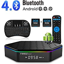 YAGALA T95Z Plus Android 7.1 TV Box Amlogic S912 Octa Core 3GB/32GB Dual Band WiFi 2.4GHz/5.0GHz 4K HD TV Box with Backlit Mini Wireless Keyboard