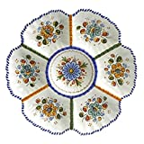 Handmade Ceramic Large Divided Appetizer Dish (13 in. wide)