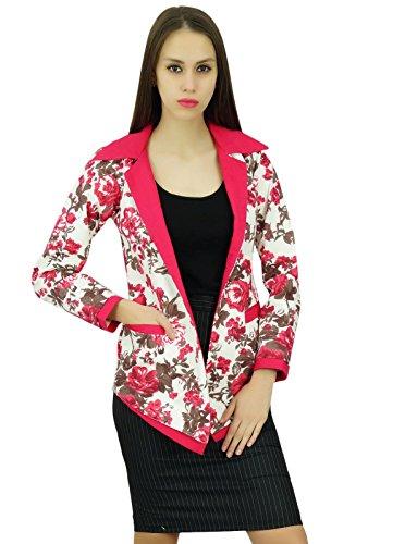 Amoghah Impresión Floral Blazers Algodón Para Las Mujeres Clásico Un Botón De Capa Con Los Bolsillos De Manga Larga Blanco y rosa
