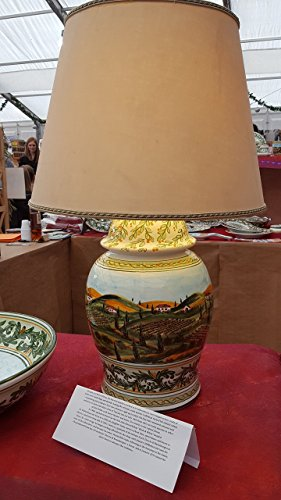 Table Bases Lamp. Hand painted with the typical decoration of the Tuscan countryside. Unique. - Siena Side Table