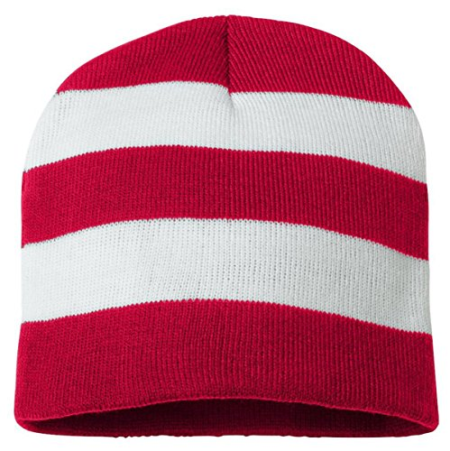 White Striped Beanie (Sportsman Rugby Striped Knit Beanie, One Size, Red/ White)
