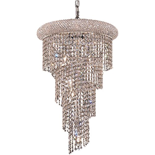Elegant Lighting 1801SR16C/SS Spiral Collection 8-Light Hanging Fixture No Neck Swarovski Strass/Elements Crystals with Chrome Finish ()