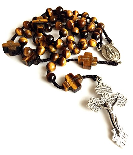 elegantmedical Rosary Yellow Tiger Eye Jade Beads Mens Womens Rosary Cross Catholic Necklace