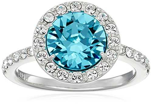 Platinum-Plated Sterling Silver Aquamarine Color Made with Swarovski Crystal Ring, Size 7