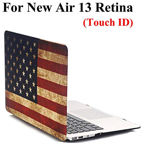 New MacBook Air 13 Inch Case with Retina Display & Touch ID (Model A1932) - iZi Way American Flag Pattern Rubberized Hard Plastic Shell Case Cover for Mac Book Air 13.3 Inch