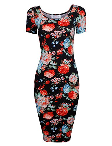 Tom's Ware Women's Sweetheart Short Sleeve Midi Dress TWCWD053-BLACK-US S