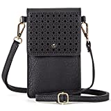 AnsTOP Lightweight Leather Pouch Small Crossbody Bag Cell Phone Purse Wallet with 2 Shoulder Straps for Women Black