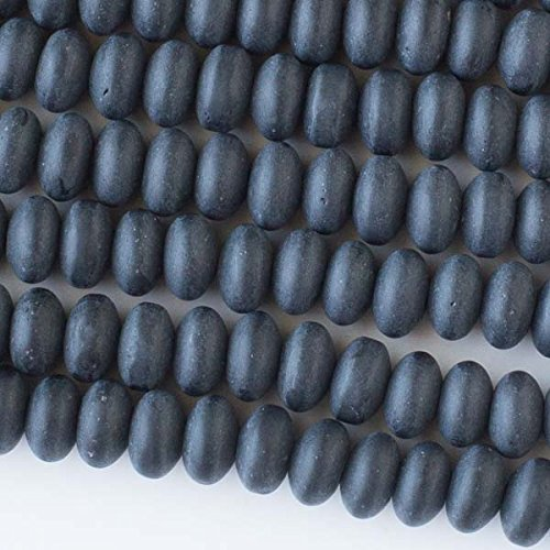 Cherry Blossom Beads Sea Glass 8mm Matte Black Rondelle Beads - 16 Inch Strand Approximately 80 Beads