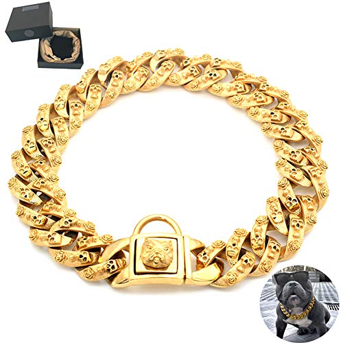 Huitao Gold Dog Chain Collar, Stainless Steel Training Collar, Heavy Duty Cuban Link Gold Plated Large Pet Dogs Necklace Choke for Bully Pitbull, Mastiff, Big Breeds (20
