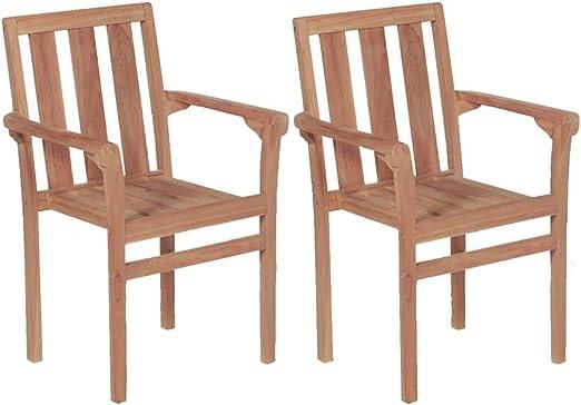 vidaXL 2X Teakholz Massiv Gartenstuhl Stapelbar Gartensessel Stuhl Sessel Gartenstühle Stühle Gartenmöbel Holzstuhl Balkonstuhl Stapelstuhl Garten
