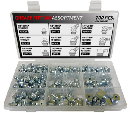 British Thread Grease Fitting Kit - 100 Piece Assortment by SAE Products