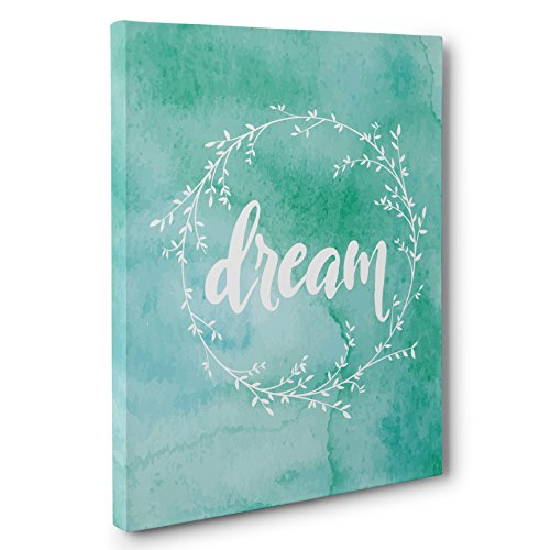 Dream Watercolor Wreath Motivational Canvas Wall Art