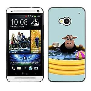 TopCaseStore / la caja del caucho duro de la cubierta de protección de la piel - Cow Pool Party Summer Toys Water Summer - HTC One M7