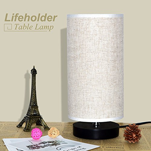 Lifeholder Table Lamp, Bedside Nightstand Lamp, Simple Desk Lamp, Fabric Wooden Table Lamp for Bedroom Living Room Office Study, Cylinder Black Base by lifeholder (Image #7)