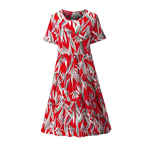 (Jialili Women Casual Cotton Linen Short Sleeve Floral Print Pleated O Neck Maxi Dress(S,Red))