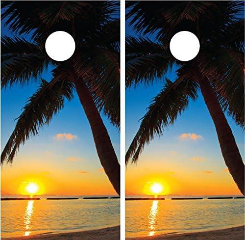 Beach Palm Trees # 6 SunsetラミネートCornholeボードデカールラップラップ