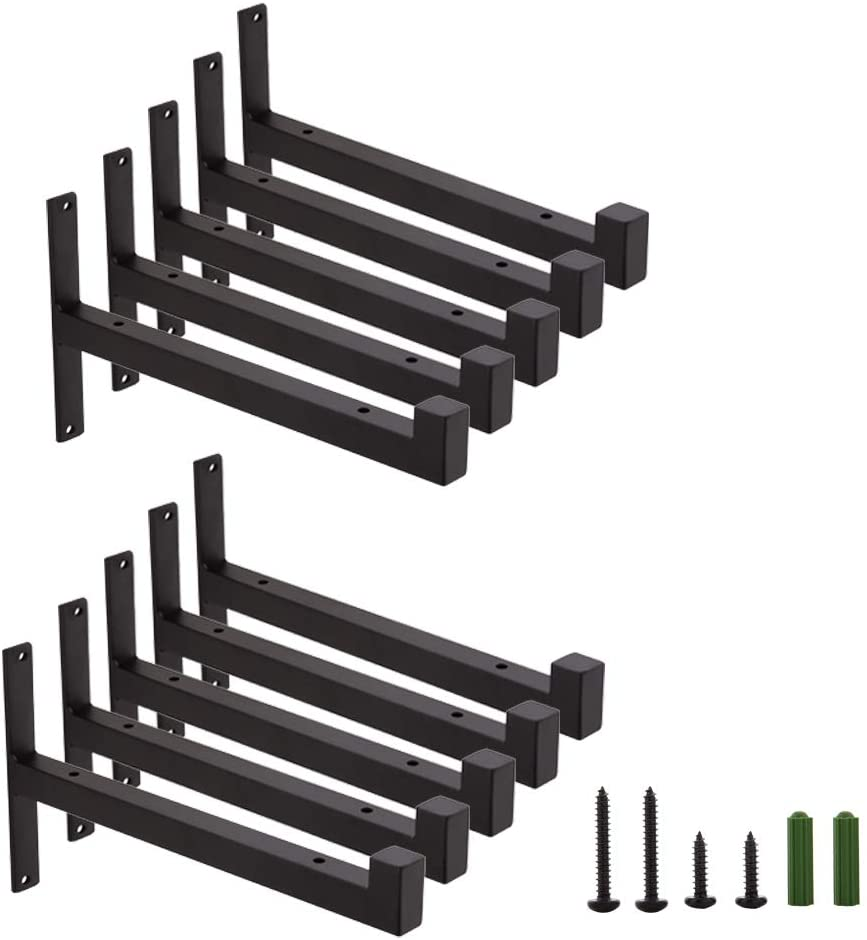 Home Master Hardware 10 inch Heavy Duty Industrial Shelf Brackets Wall Mounted Rustic Iron Floating Brace Support Brackets Black with Screws 10 Pack