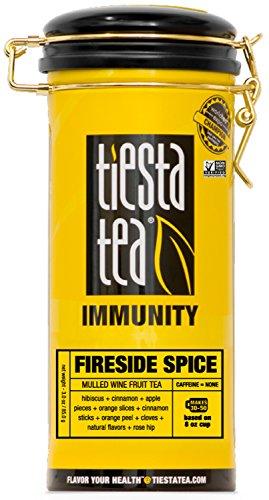 Mulled Wine Fruit Tea | FIRESIDE SPICE 5 Ounce Tin by TIESTA TEA | Caffeine Free | Loose Leaf Herbal Tea Immunity Blend | (Mulled Spice)