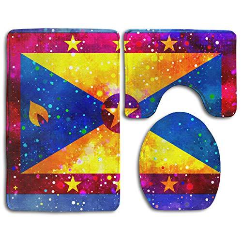 - CCBUTBA Bathroom Rug Mats Set 3 Piece Grenada Flag Starry Flag Extra Soft Bath Rugs (20