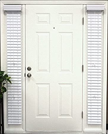 2 inch Premium Elite Horizontal Faux Wood Blinds \u2013 Pair of SideLight - Doors Outside Mount