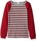 Splendid Boys' Little Yarn Dyed Stripe Raglan top, Garnet red, 7